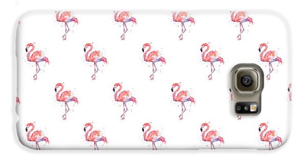 Pink Flamingo Watercolor Pattern Galaxy S6 Case by Olga Shvartsur