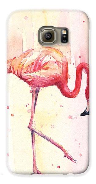 Pink Flamingo Watercolor Rain Galaxy S6 Case