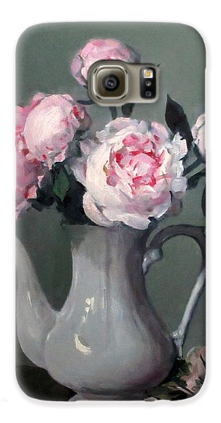 Pink Peonies In White Coffeepot Galaxy S6 Case