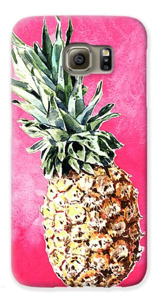 Pink Pineapple Bright Fruit Still Life Healthy Living Yoga Inspiration Tropical Island Kawaii Cute Galaxy S6 Case by Laura Row