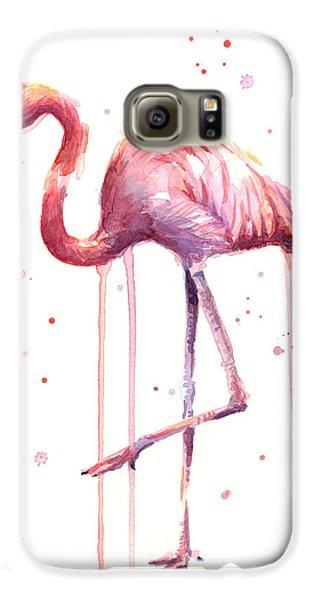 Pink Watercolor Flamingo Galaxy S6 Case