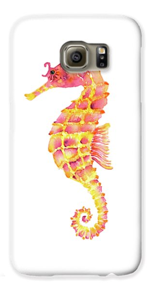 Pink Yellow Seahorse - Square Galaxy S6 Case by Amy Kirkpatrick