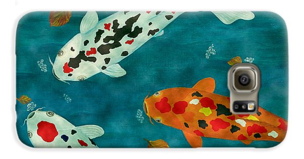 Galaxy S6 Case featuring the painting Playful Koi Fishes Original Acrylic Painting by Georgeta Blanaru