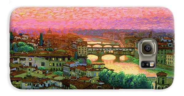 Town Galaxy S6 Case - Ponte Vecchio Sunset Florence by Jane Small