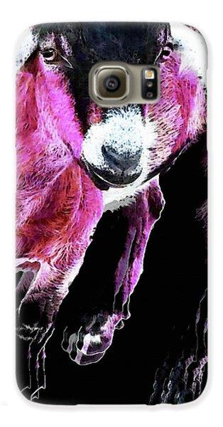 Pop Art Goat - Pink - Sharon Cummings Galaxy S6 Case by Sharon Cummings