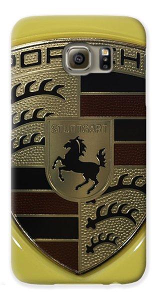 Porsche Emblem On Racing Yellow Galaxy S6 Case by Sebastian Musial