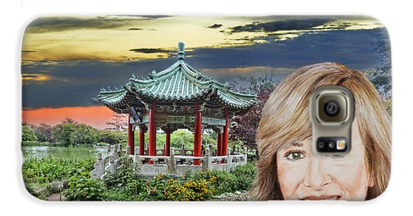 Portrait Of Jamie Colby By The Pagoda In Golden Gate Park Galaxy S6 Case by Jim Fitzpatrick