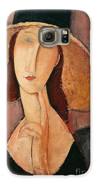 Portraits Galaxy S6 Case - Portrait Of Jeanne Hebuterne In A Large Hat by Amedeo Modigliani