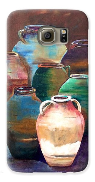 Galaxy S6 Case featuring the painting Pottery Jars by Patti Ferron