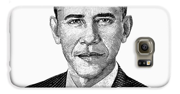 President Barack Obama Graphic Black And White Galaxy S6 Case by War Is Hell Store
