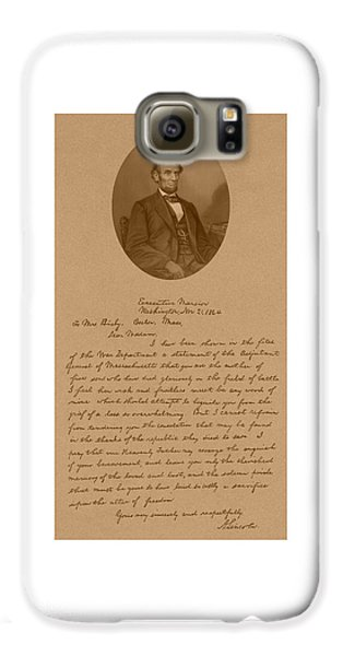 President Lincoln's Letter To Mrs. Bixby Galaxy S6 Case by War Is Hell Store