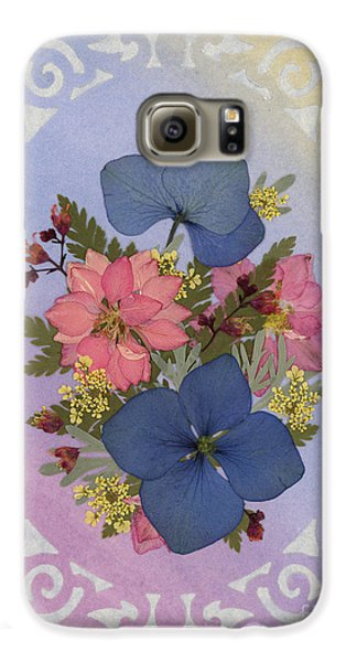 Pressed Flowers Arrangement With Pink Larkspur And Hydrangea Galaxy S6 Case