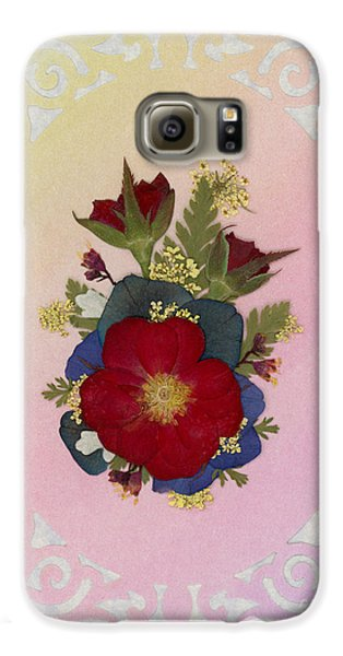 Pressed Flowers Arrangement With Red Roses Galaxy S6 Case