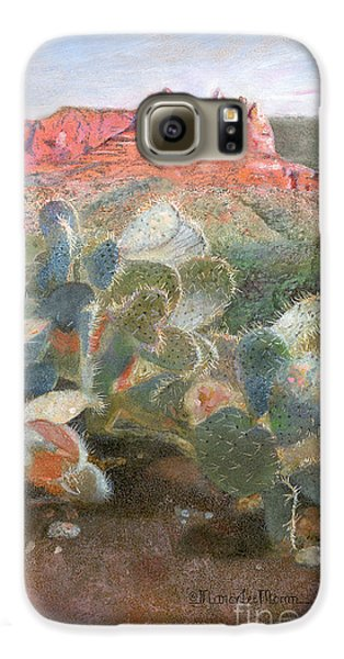 Galaxy S6 Case featuring the painting Prickly Pear In Sedona, Arizona by Nancy Lee Moran