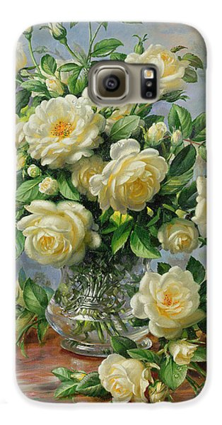 Rose Galaxy S6 Case - Princess Diana Roses In A Cut Glass Vase by Albert Williams