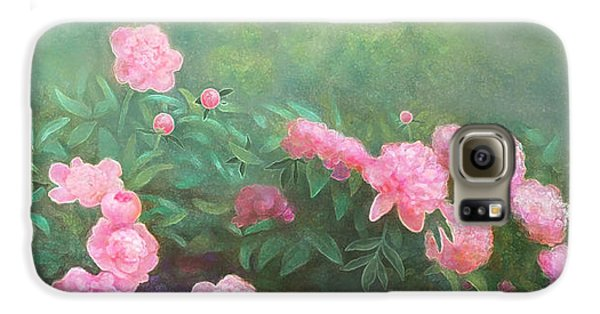 Galaxy S6 Case featuring the mixed media Profuse Peony Blossoms by Nancy Lee Moran