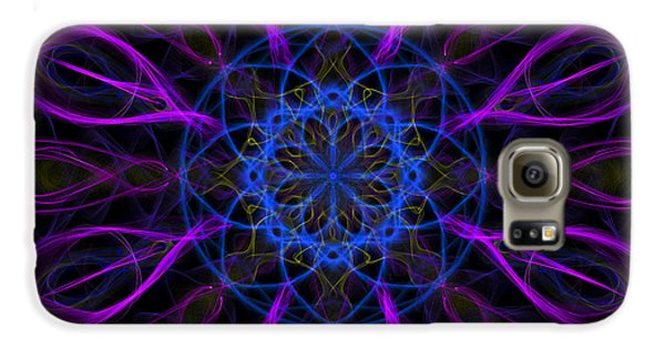 Galaxy S6 Case featuring the photograph Purple Blue Kaleidoscope Square by Adam Romanowicz