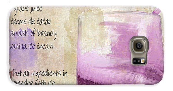 Purple Cow Mixed Cocktail Recipe Sign Galaxy S6 Case by Mindy Sommers
