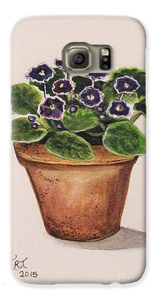 Garden Galaxy S6 Case - Purple Violets by Elizabeth Robinette Tyndall
