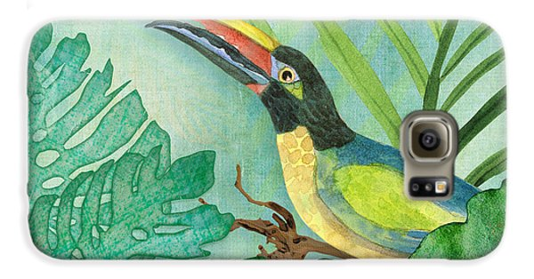 Toucan Galaxy S6 Case - Rainforest Tropical - Jungle Toucan W Philodendron Elephant Ear And Palm Leaves 2 by Audrey Jeanne Roberts