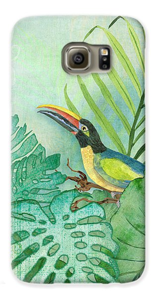 Rainforest Tropical - Tropical Toucan W Philodendron Elephant Ear And Palm Leaves Galaxy S6 Case by Audrey Jeanne Roberts