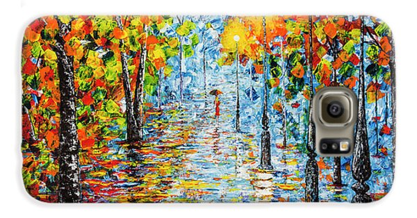 Galaxy S6 Case featuring the painting Rainy Autumn Evening In The Park Acrylic Palette Knife Painting by Georgeta Blanaru