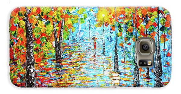 Galaxy S6 Case featuring the painting Rainy Autumn Evening In The Park Acylic Palette Knife Painting by Georgeta Blanaru