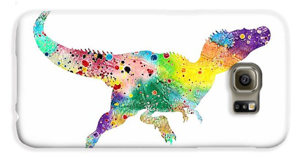 Raptor 2 Dinosaur Watercolor Galaxy S6 Case by Svetla Tancheva