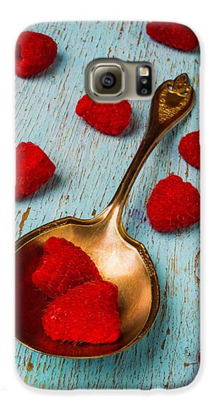 Raspberries With Antique Spoon Galaxy S6 Case by Garry Gay