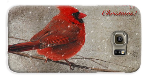 Red Bird In Snow Christmas Card Galaxy S6 Case by Lois Bryan