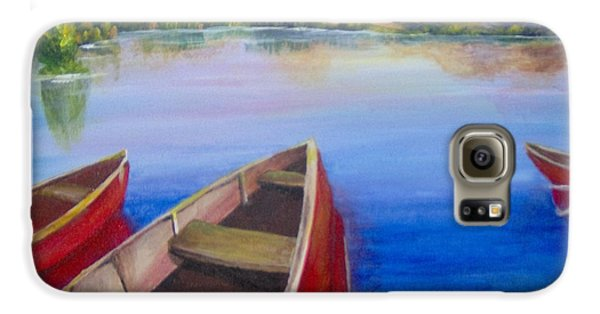 Galaxy S6 Case featuring the painting Red Boats At Sunrise by Saundra Johnson