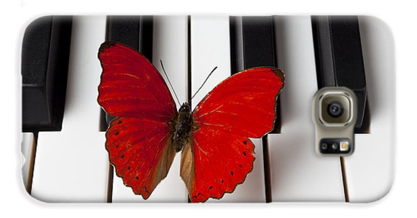 Red Butterfly On Piano Keys Galaxy S6 Case