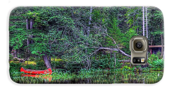 Galaxy S6 Case featuring the photograph Red Canoe Among The Reeds by David Patterson