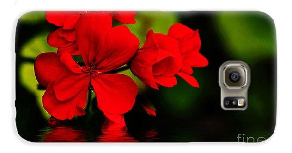 Red Geranium On Water Galaxy S6 Case