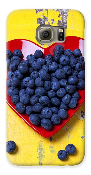 Red Heart Plate With Blueberries Galaxy S6 Case