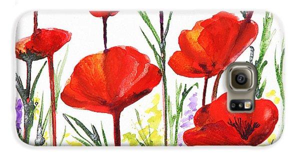 Red Poppies Art By Irina Sztukowski Galaxy S6 Case by Irina Sztukowski