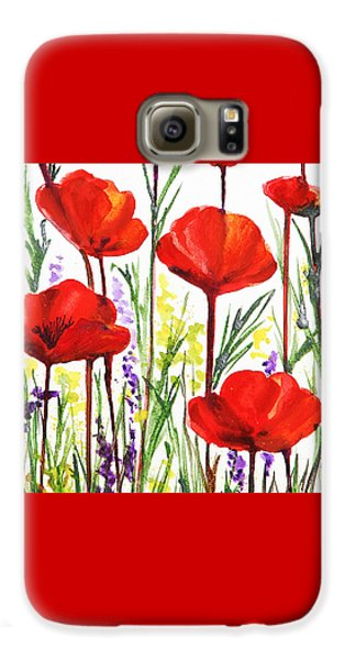Red Poppies Watercolor By Irina Sztukowski Galaxy S6 Case by Irina Sztukowski