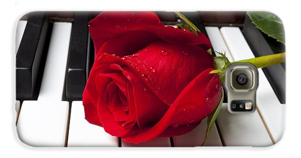 Rose Galaxy S6 Case - Red Rose On Piano Keys by Garry Gay