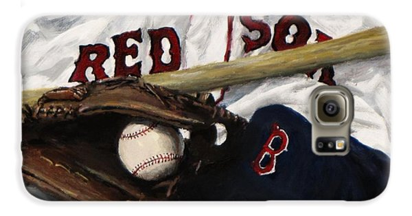 Baseball Gloves Galaxy S6 Case - Red Sox Number Nine by Jack Skinner
