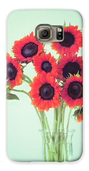 Sunflower Galaxy S6 Case - Red Sunflowers by Amy Tyler