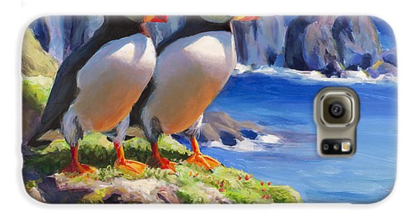 Puffin Galaxy S6 Case - Reflecting - Horned Puffins - Coastal Alaska Landscape by Karen Whitworth