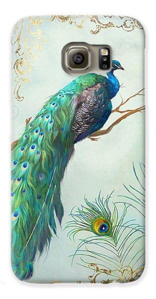 Regal Peacock 1 On Tree Branch W Feathers Gold Leaf Galaxy S6 Case by Audrey Jeanne Roberts