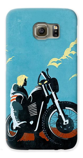 Motorcycle Galaxy S6 Case - Retro Scrambler Motorbike by Sassan Filsoof