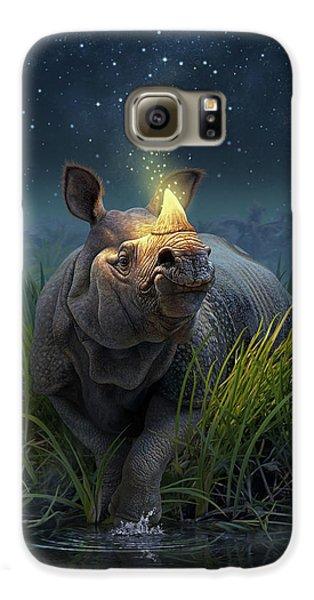 Unicorn Galaxy S6 Case - Rhinoceros Unicornis by Jerry LoFaro