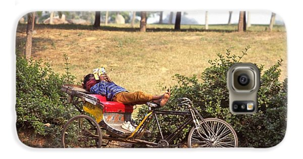 Rickshaw Rider Relaxing Galaxy S6 Case by Travel Pics