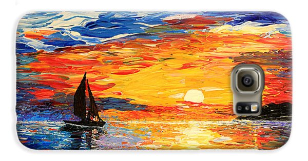 Galaxy S6 Case featuring the painting Romantic Sea Sunset by Georgeta  Blanaru