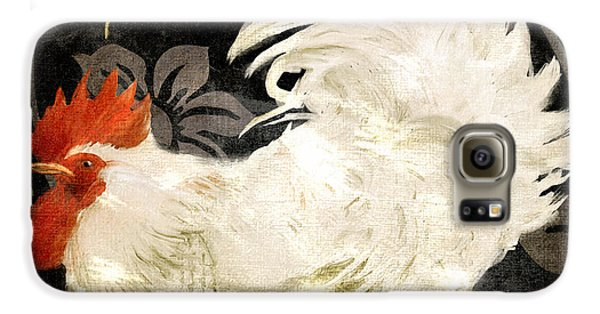 Rooster Damask Dark Galaxy S6 Case by Mindy Sommers