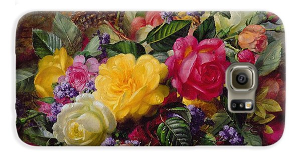 Roses By A Pond On A Grassy Bank  Galaxy S6 Case by Albert Williams
