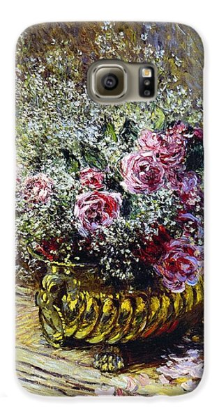 Roses In A Copper Vase Galaxy S6 Case by Claude Monet