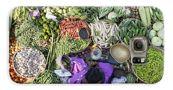 Rural Indian Vegetable Market Galaxy S6 Case by Tim Gainey
